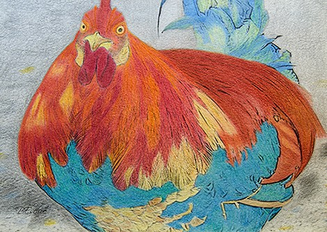 Rooster - Hand Colored on Hahnemuhle Archival Art Paper using Faber Castell PolyChromos Pencils